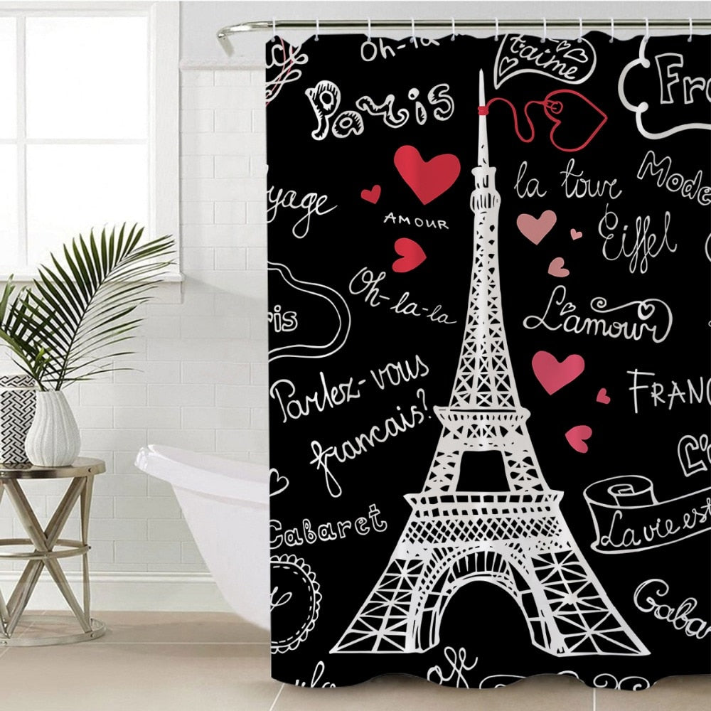 Romantic Eiffel Tower Shower Curtain - eCasaMart