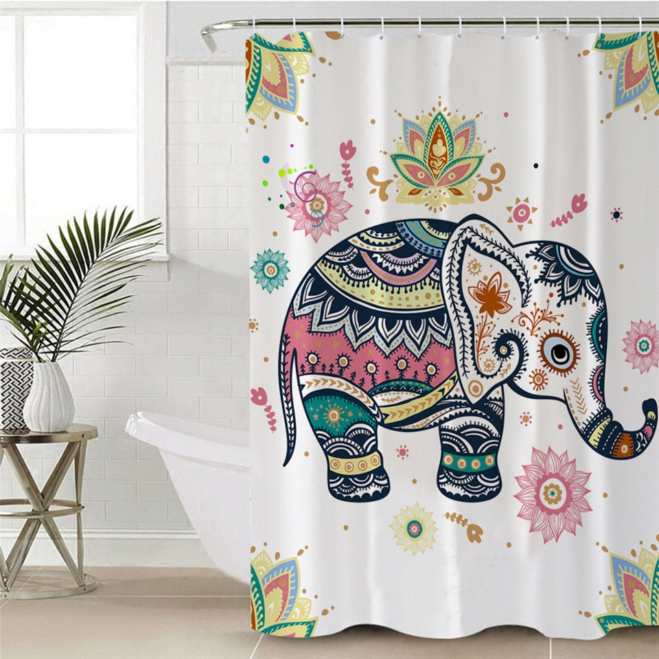 Elephant Shower Curtain with Bohemian Decor Patterns - eCasaMart