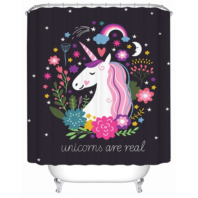 Unicorn Shower Curtain with Floral Pattern - eCasaMart