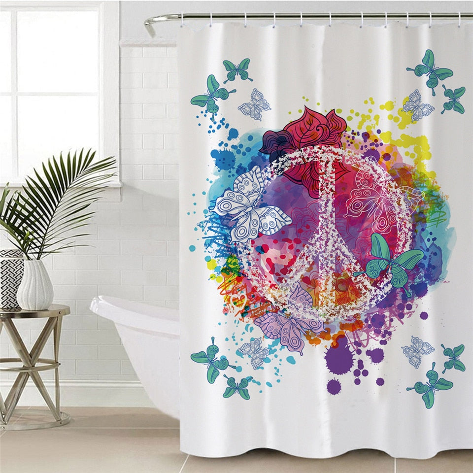 Peace Butterfly Shower Curtain - eCasaMart