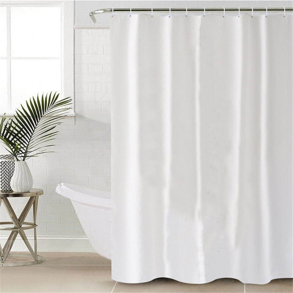 Waterproof polyester White Shower Curtain - eCasaMart