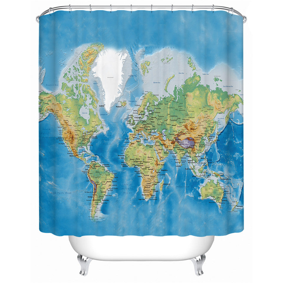 World Map Shower Curtain - eCasaMart