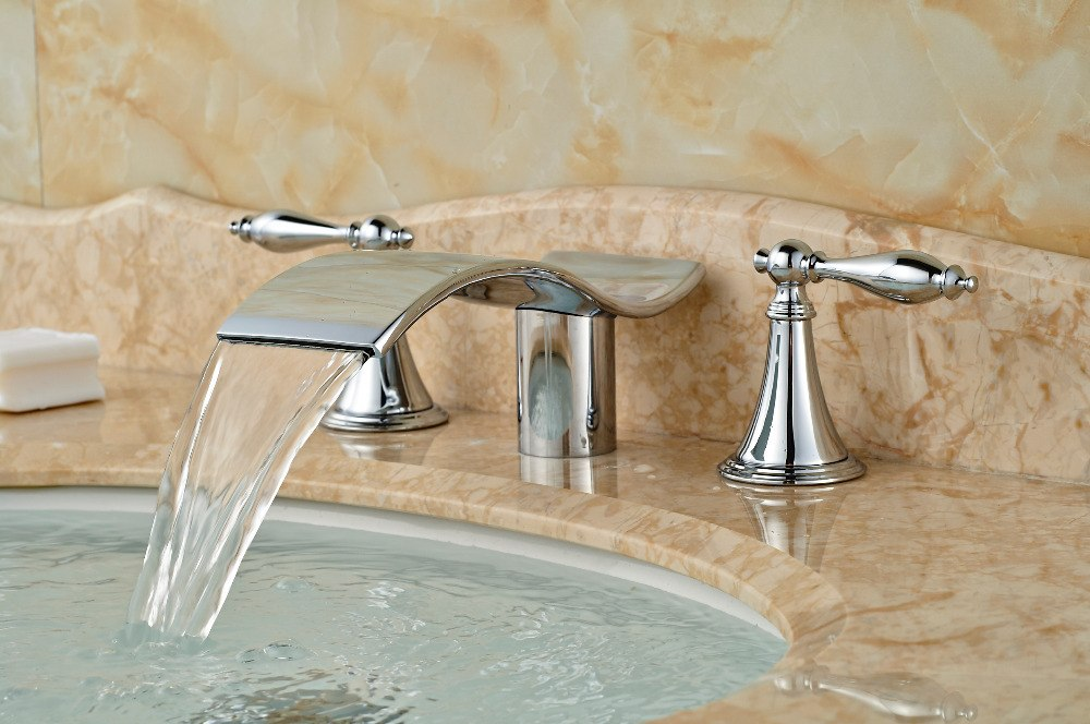 Berdeen Deck Mount Chrome Finish 3 Hole Dual Handle Waterfall Bathroom Faucet with Hot and Cold Mixer - eCasaMart