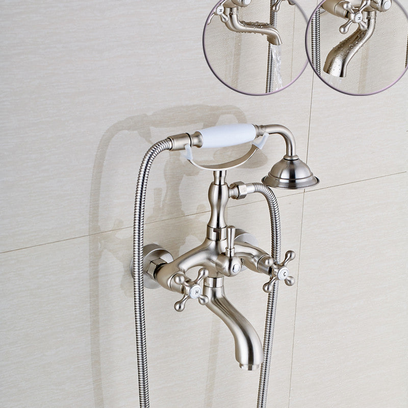 Bois Antique Brass Telephone Style Wall Mount Tub Faucet with Hot & Cold Mixer - eCasaMart