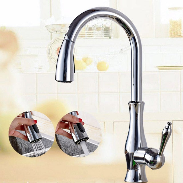 Chelan Single Hole Single Handle Kitchen Faucet with Pull Out Spray - eCasaMart