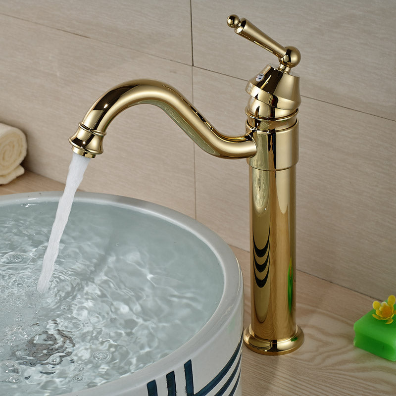 Bridalveil Deck Mount Single Handle Single Hole Gold Bathroom Faucet - eCasaMart
