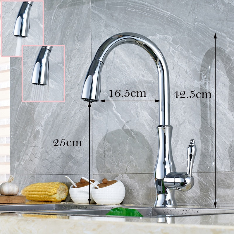 Plataea Chrome Single Handle Kitchen Faucet with Pull Down Sprayer & Soap Dispenser - eCasaMart