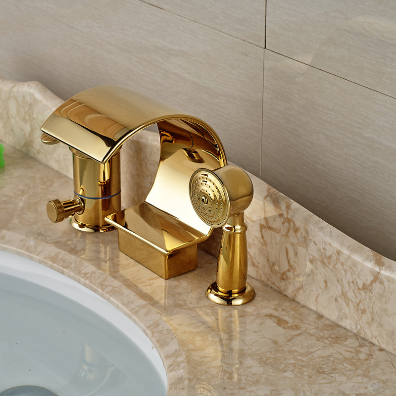 Brule Single Handle Gold Waterfall Bathtub Faucet with Hand shower - eCasaMart