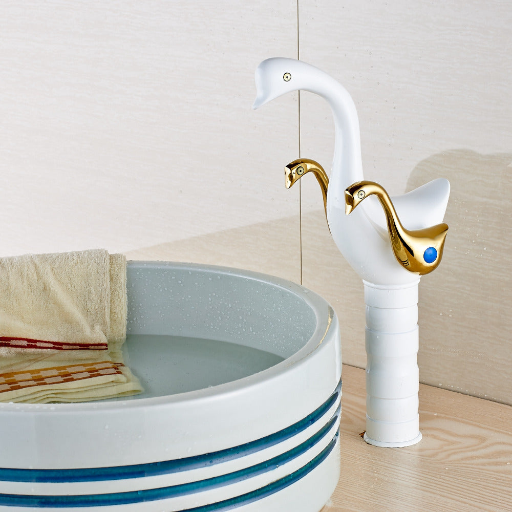 Canajoharie Deck Mount Single Hole Dual Handle Gold Swan Bathroom Faucet with Hot and Cold Water Mixer - eCasaMart