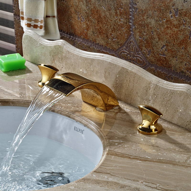 Canton Deck Mount Dual Handle Gold Finish 3 Hole LED Bathroom Sink Faucet - eCasaMart