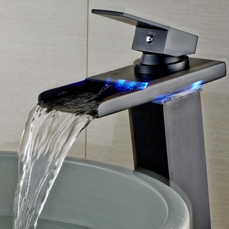 Cheshnina Deck Mount Oil Rubbed Bronze LED Waterfall Bathroom Sink Faucet - eCasaMart
