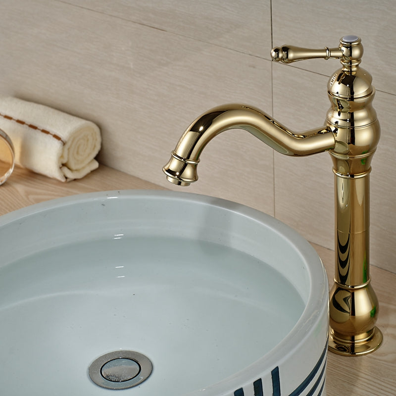 Chittenango Deck Mount Single Handle Single Hole Polished Gold Bathroom Faucet - eCasaMart