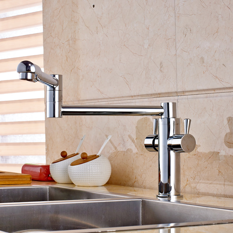 Naples Deck Mount Chrome Pot Filler Faucet with Hot & Cold Water Mixer - eCasaMart