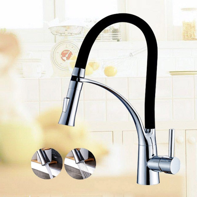 Lucca Deck Mount Single Handle Pull Down Kitchen Faucet with Hot & Cold Water Mixer - eCasaMart