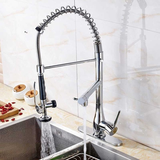 Milan Deck Mount Chrome Pull Down Kitchen Faucet with Hot & Cold Mixer - eCasaMart