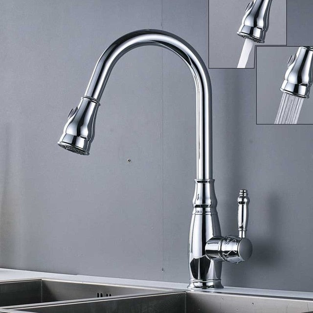 Verona Deck Mount Kitchen Sink Faucet with Pull Out Spray & Hot / Cold Water Mixer - eCasaMart