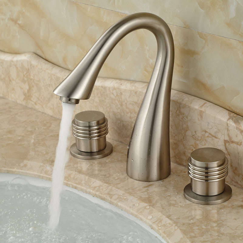 Cochrans Deck Mount Widespread Brushed Nickel Two Handle Bathroom Faucet - eCasaMart