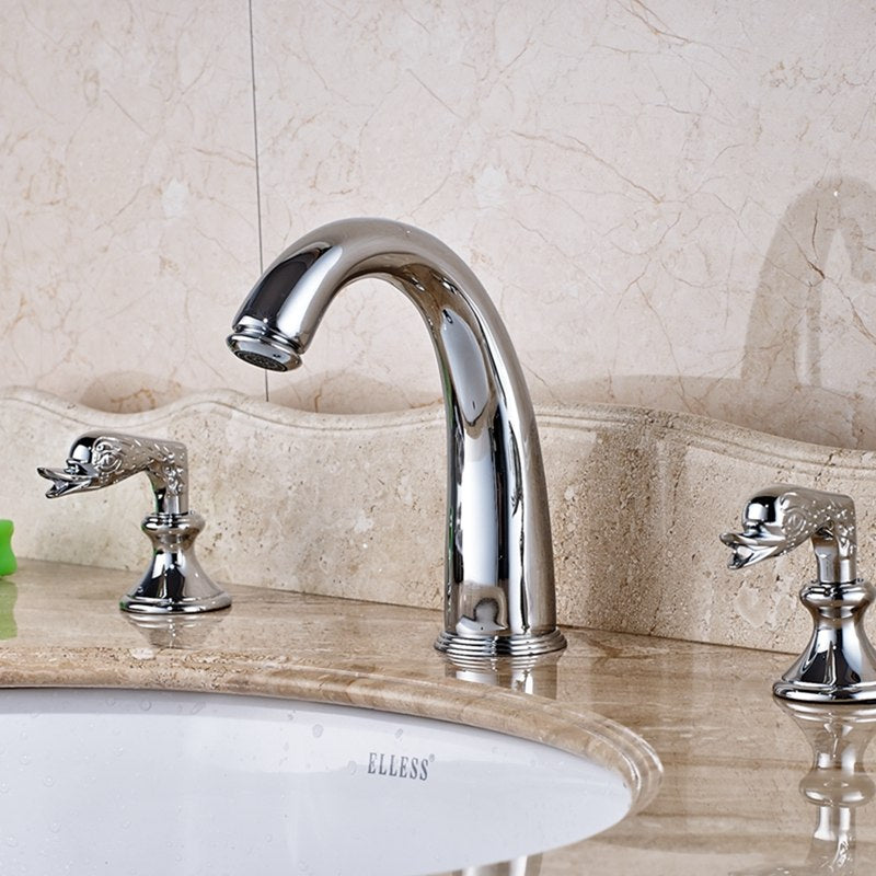 Connestee Deck Mount Dual Handle Widespread Chrome Bathroom Vanity Faucet with Hot and Cold Water Mixer - eCasaMart