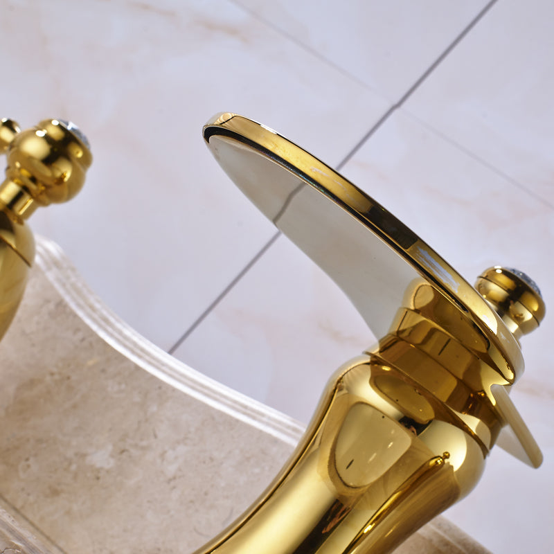Cumberland Deck Mount Dual Handle 3 Hole Gold Widespread Bathroom Faucet with Hot / Cold Water Mixer - eCasaMart