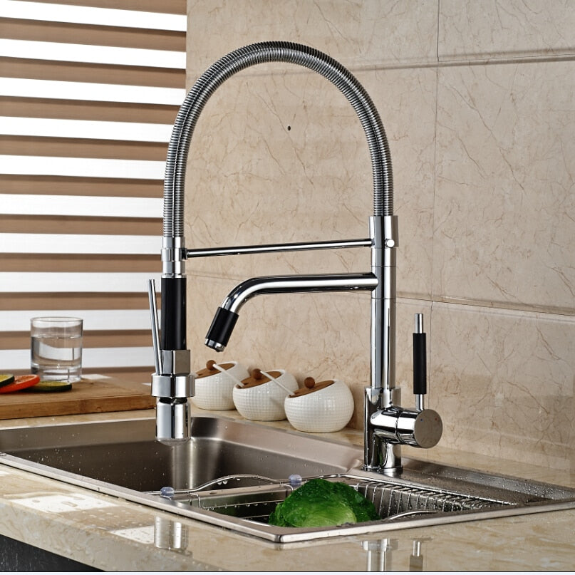 Naples Deck Mount LED Kitchen Sink Faucet with Pull Out Sprayer - eCasaMart
