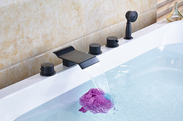 Naples Deck Mount Oil Rubbed Bronze Bathtub Faucet with Waterfall
