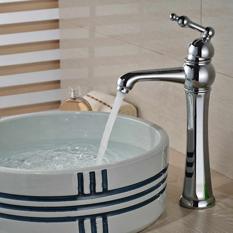 Delphi Deck Mount Single Hole Single Handle Chrome Bathroom Faucet - eCasaMart