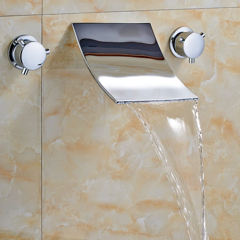 Eastatoe Dual Handle Chrome Waterfall Bathroom Sink Faucet with Hot and Cold Mixer - eCasaMart