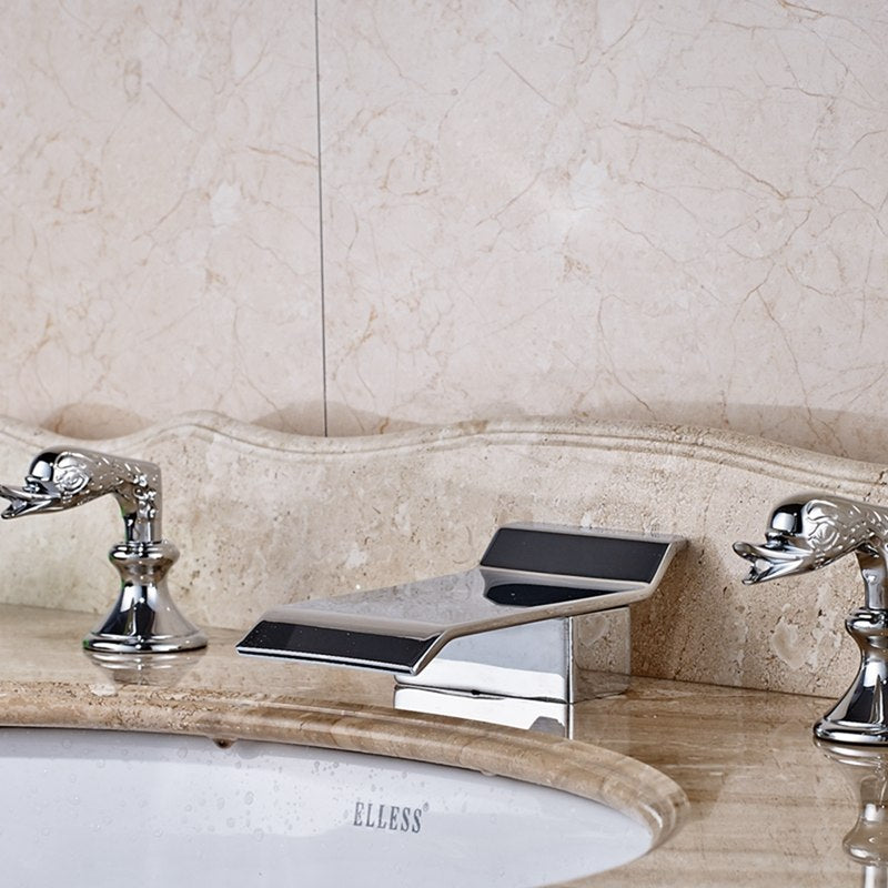 Fishhawk Deck Mount Three Hole Chrome Finish Two Handle Bathroom Sink Faucet with Hot and Cold Water Mixer - eCasaMart