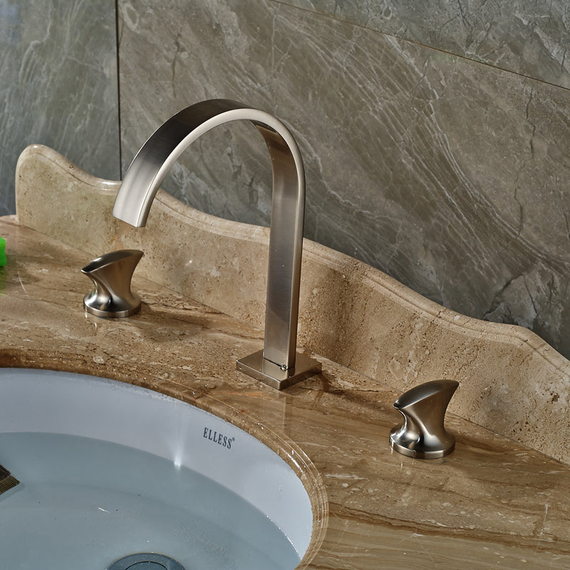 Estatoah Deck Mount Dual Handle Brushed Nickel Widespread Bathroom Sink Faucet with Hot / Cold Mixer - eCasaMart
