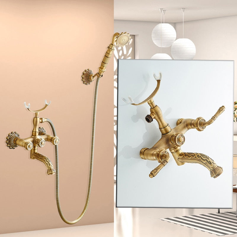 Florence Artistic Wall Mount Antique Brass Bathtub Faucet with Hand Shower - eCasaMart