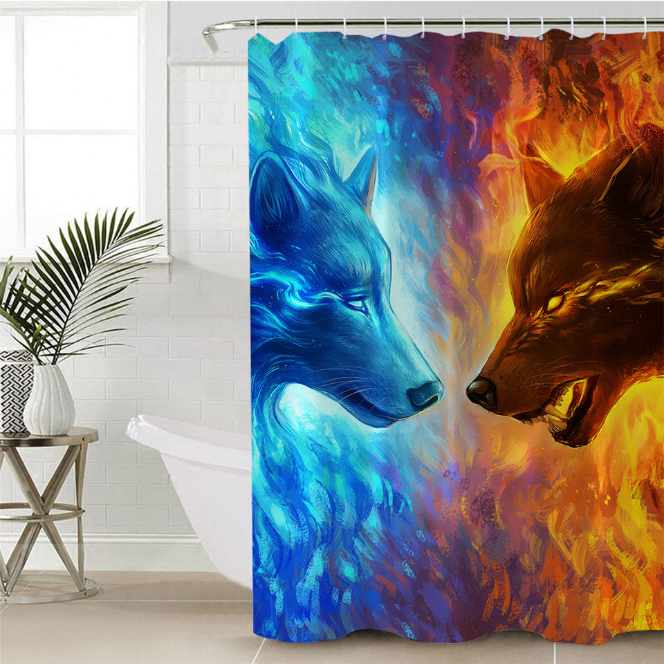 Fire and Ice Wolf Shower Curtain | Fire and Ice by JoJoesArt - eCasaMart