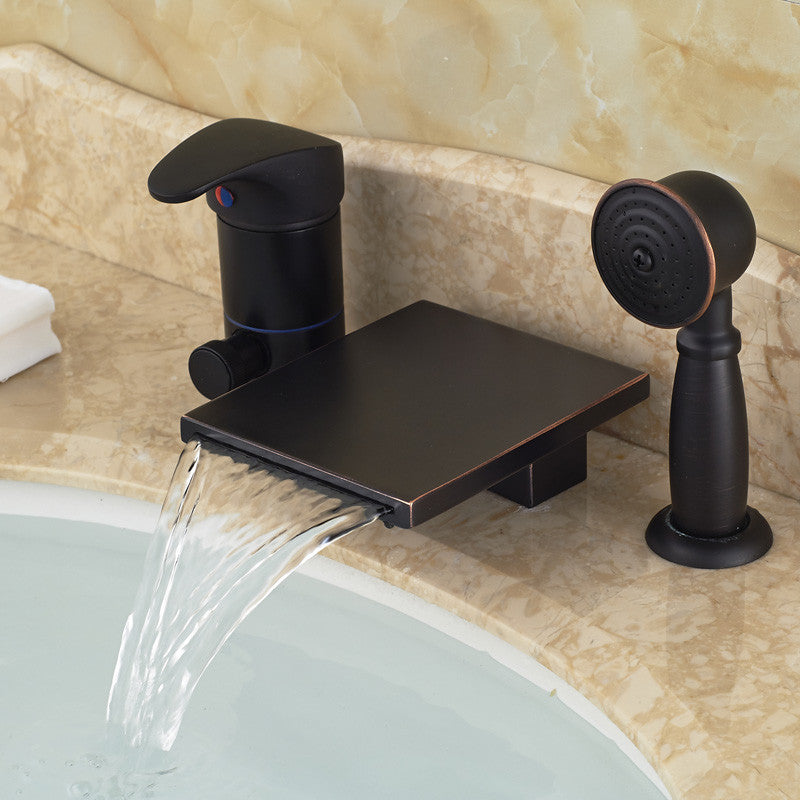Foggia Deck Mount Oil Rubbed Bronze Waterfall Bathtub Faucet with Handshower - eCasaMart