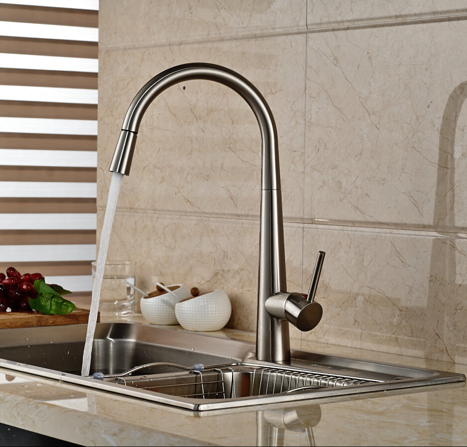 Genoa Brushed Nickel pull out kitchen faucet with Hot & Cold Mixer - eCasaMart
