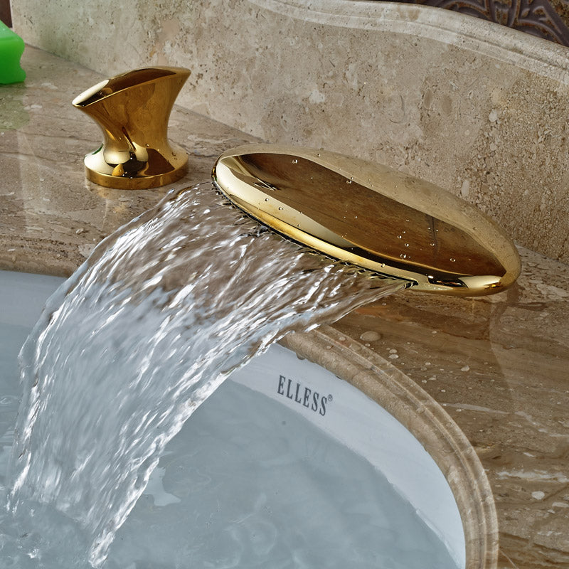 Glendale Deck Mount Dual Handle Gold Finish  Waterfall LED Bathroom Faucet - eCasaMart