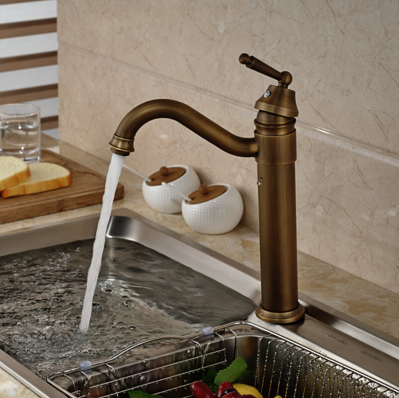 Grinnell Deck Mount Countertop Single Handle Single Hole Antique Brass Kitchen Faucet with Hot / Cold Mixer - eCasaMart
