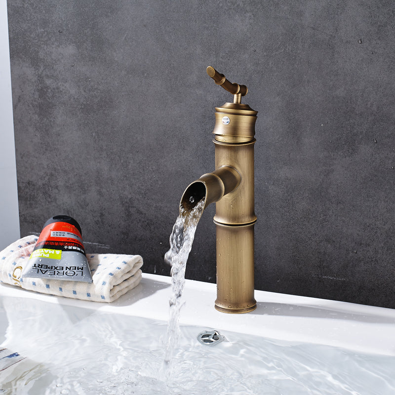 Grotto Deck Mount Single Handle Single Hole Antique Brass Bamboo Bathroom Faucet - eCasaMart
