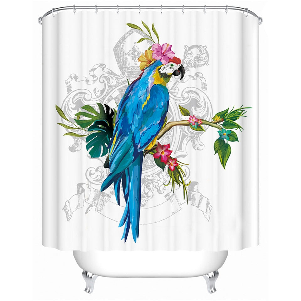 Tropical Shower Curtain with Macaw Print - eCasaMart