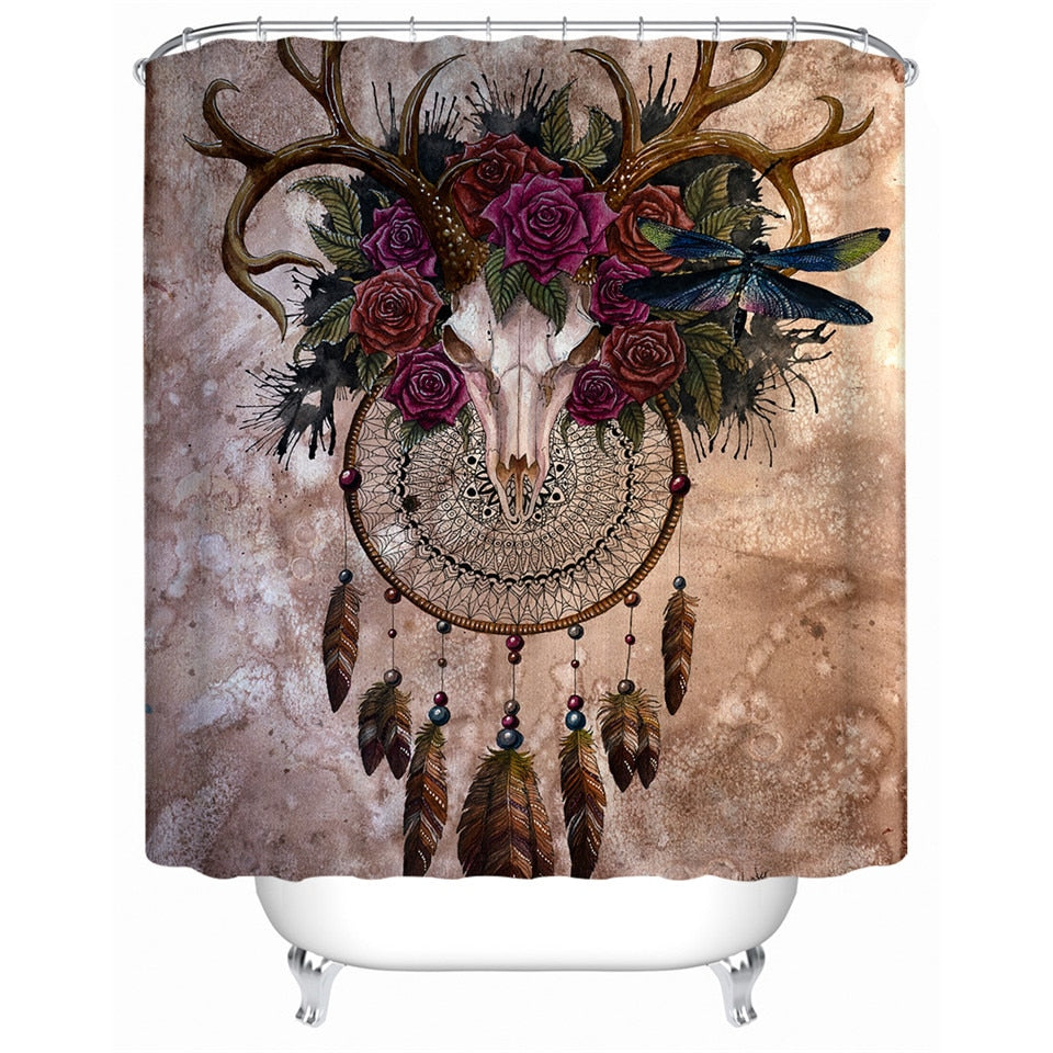 Dream Catcher Shower Curtain | Mystery Skull Dreamcatcher by Sunima - eCasaMart
