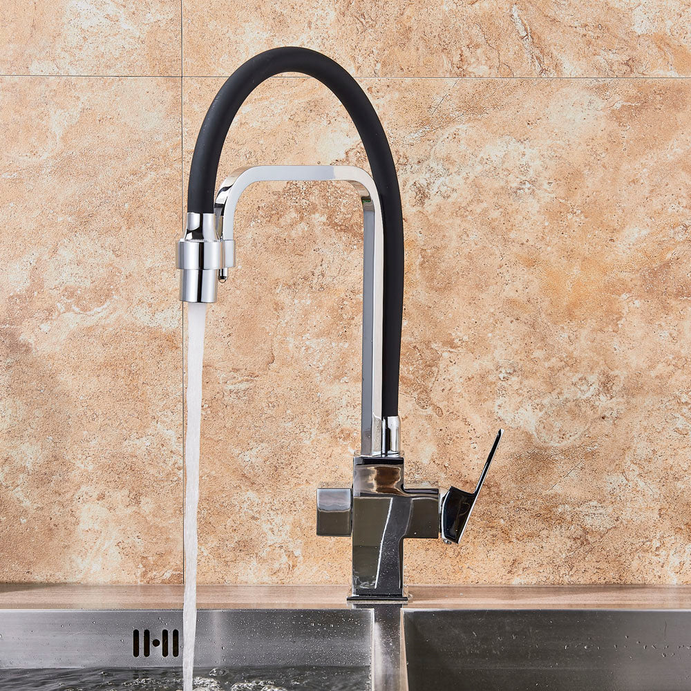 Oahe Deck Mount Chrome Dual Spout Kitchen Faucet with Drinking Water outlet - eCasaMart