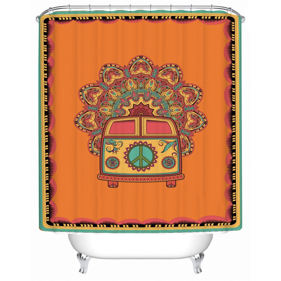 Orange Hippie Shower curtain - eCasaMart