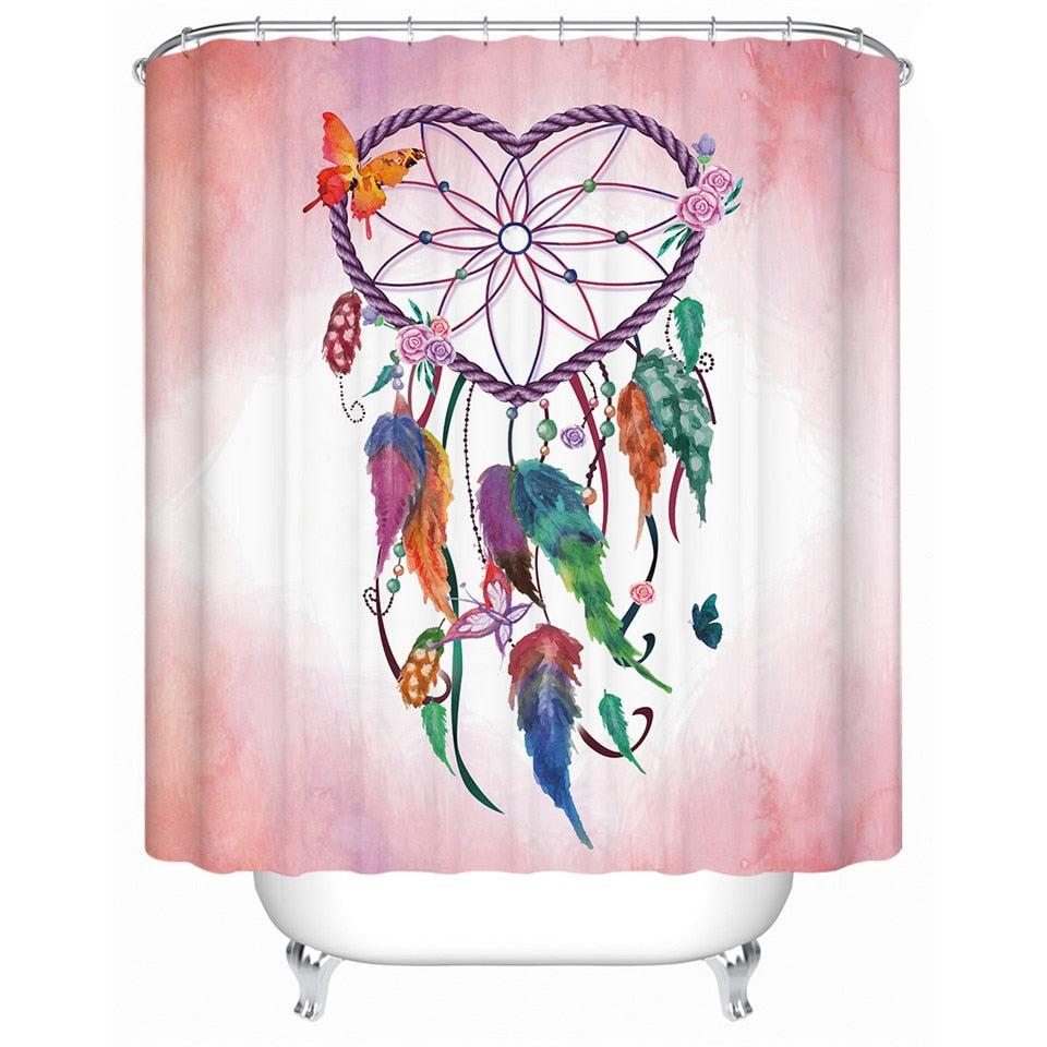 Boho Dream Catcher Heart  Shower Curtain - eCasaMart