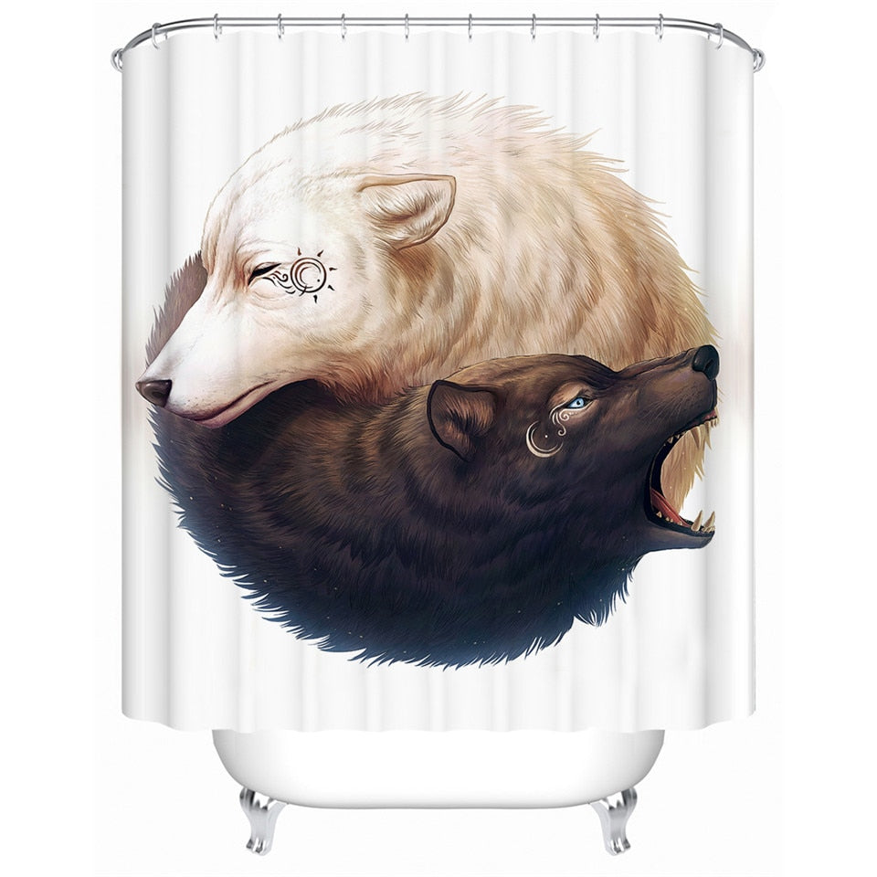 3D Wolf Shower Curtain | Yin and Yang Wolves by JoJoesArt - eCasaMart