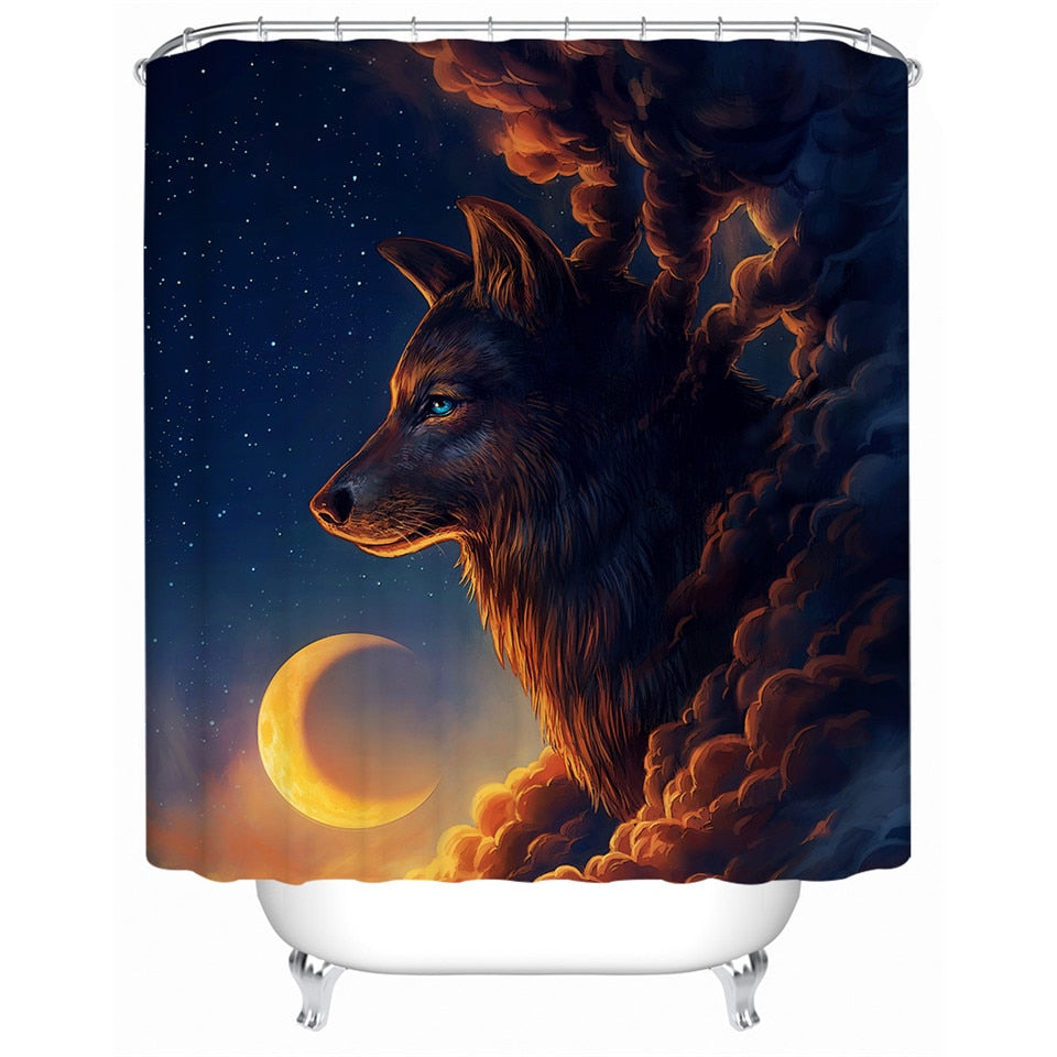 Waterproof Wolf Shower Curtain | Night Guardian by JoJoesArt - eCasaMart