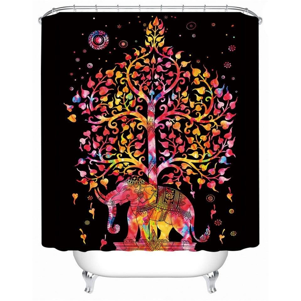 Bohemian Shower Curtain with Elephant Print - eCasaMart