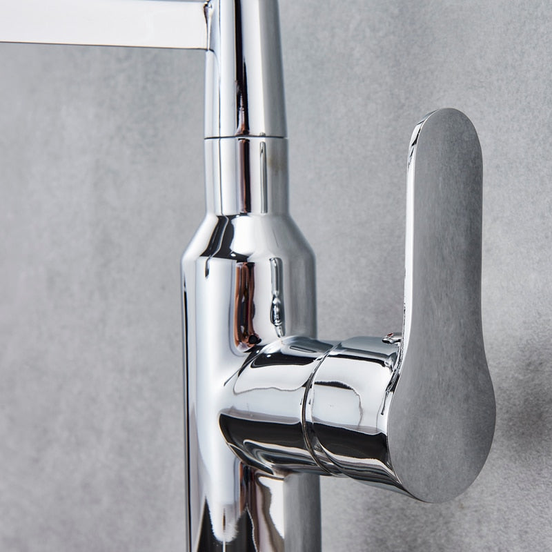 Verona Deck Mount Pull Out Kitchen Faucet with Hot & Cold Water Mixer - eCasaMart