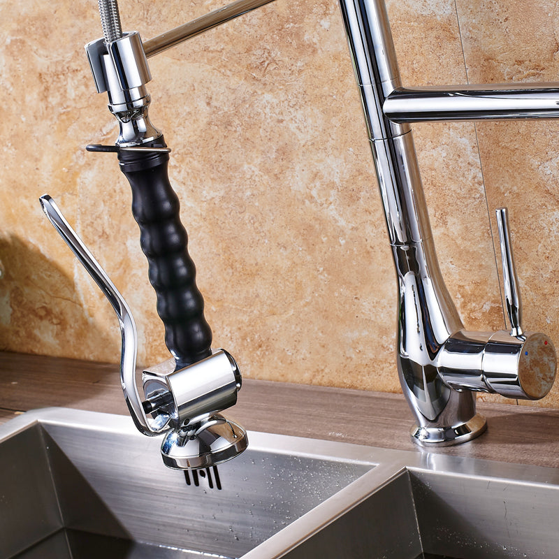 Bolzano Deck Mount Chrome Pull Down Kitchen Faucet with Hot & Cold Mixer - eCasaMart