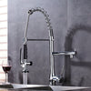 Turin Deck Mount Pull Down Kitchen Faucet with Hot & Cold Water Mixer - eCasaMart