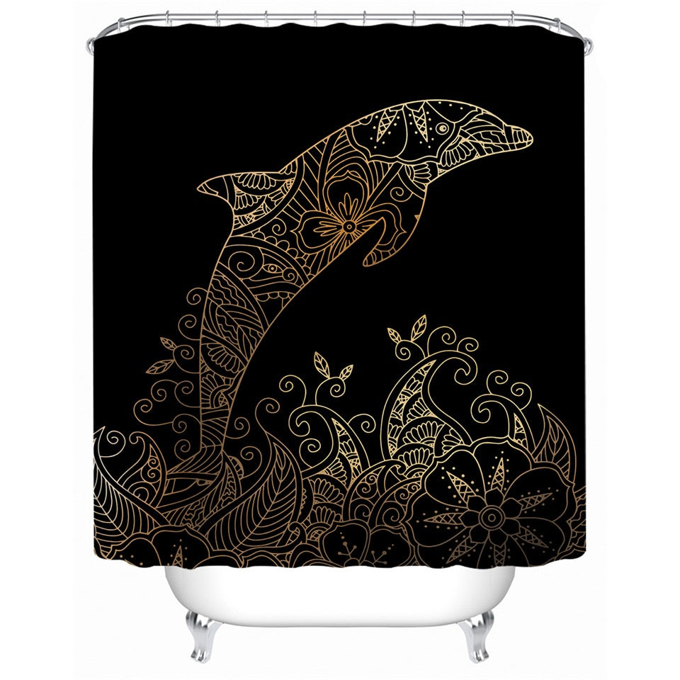 Golden Dolphin Shower Curtain with Bohemian Floral Design - eCasaMart