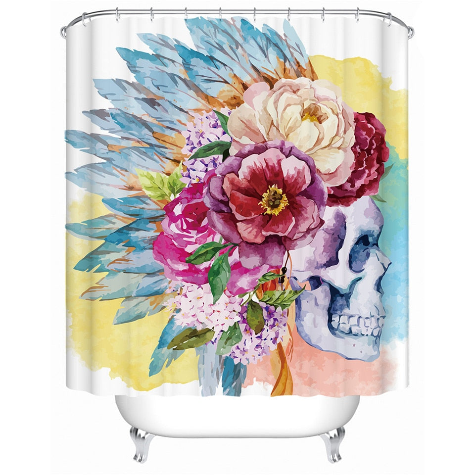 Floral Skull Shower Curtain - eCasaMart