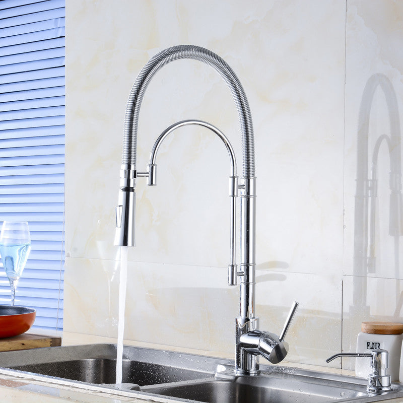 Mantua Deck Mount Chrome Kitchen Sink Faucet with Hot and Cold Water Mixer - eCasaMart